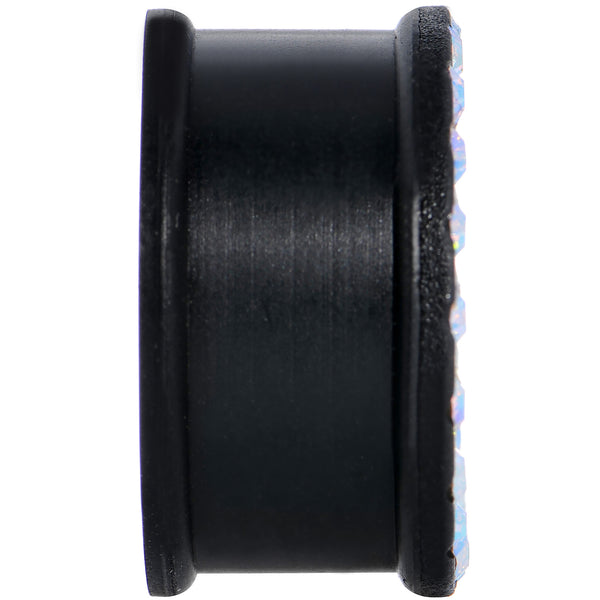 7/8 Aurora Gem Black Silicone Double Flare Tunnel