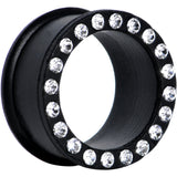 7/8 Crystalline Gem Black Silicone Double Flare Tunnel