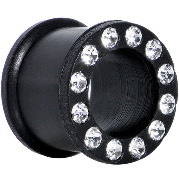 9/16 Crystalline Gem Black Silicone Double Flare Tunnel