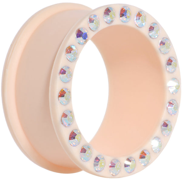 1 inch Aurora Gem Peach Silicone Double Flare Tunnel