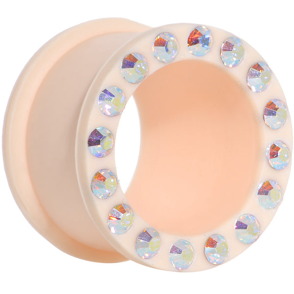 3/4 Aurora Gem Peach Silicone Double Flare Tunnel