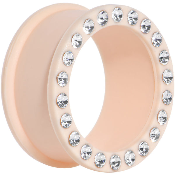25mm Clear Gem Peach Silicone Double Flare Tunnel Plug