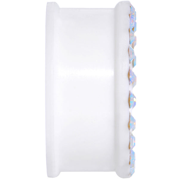 1 inch Aurora Gem White Silicone Double Flare Tunnel