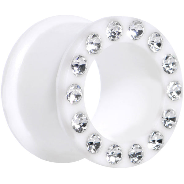 5/8 Crystalline Gem White Silicone Double Flare Tunnel