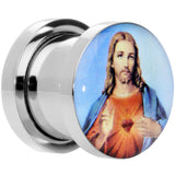 00 Gauge Sacred Heart of Jesus Steel Screw Fit Plug