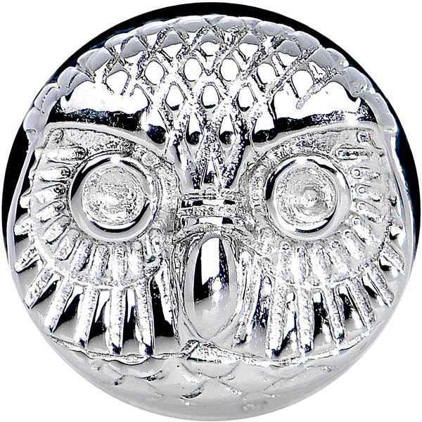 0 Gauge Stainless Steel Wise Old Owl Screw Fit Plug