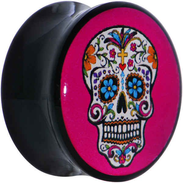 1 inch Black Acrylic Blooming Sugar Skull Double Flare Saddle Plug