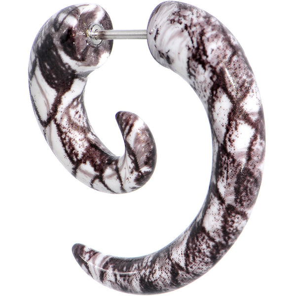 Brown White Acrylic Snakeskin Fake Taper Spiral Plug