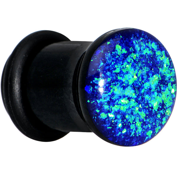 00 Gauge Black Acrylic Blue Confetti Party Single Flare Plug