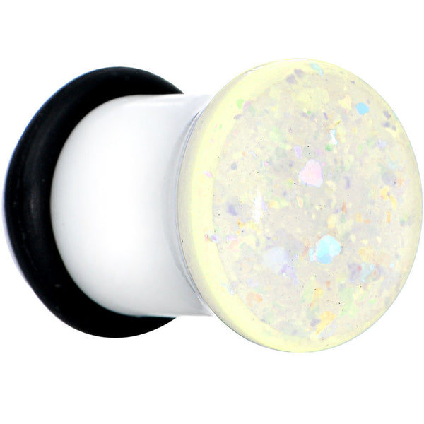 0 Gauge White Acrylic Aurora Confetti Party Single Flare Plug