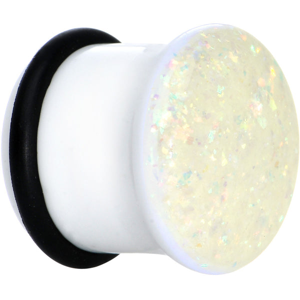 1/2 White Acrylic Aurora Confetti Party Single Flare Plug