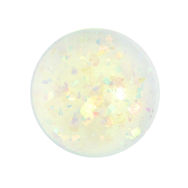 2 Gauge White Acrylic Aurora Confetti Party Single Flare Plug