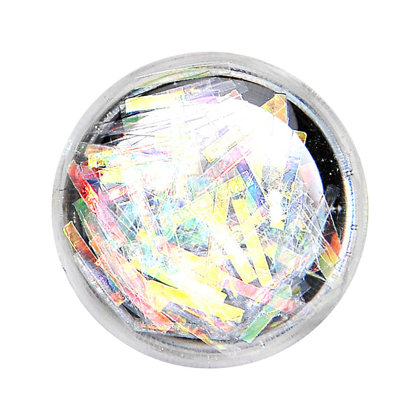 2 Gauge Stainless Steel Opalescent Confetti Party Saddle Plug