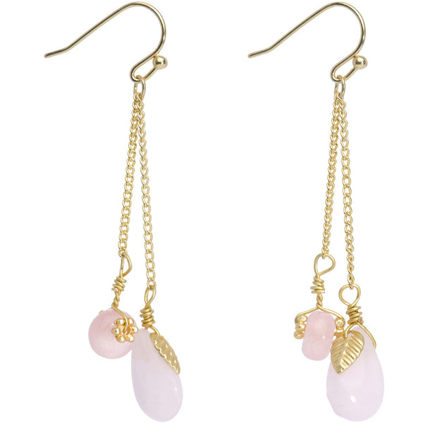Gold Tone Pink Stone Lux Drop Earrings