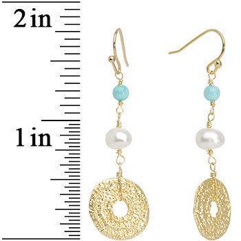 Gold Tone Turquoise Faux Pearl Circular Lux Drop Earrings