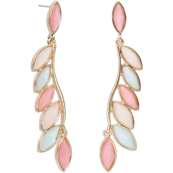 Gold Tone Pastel Leaves of Spring Dangle Earrings