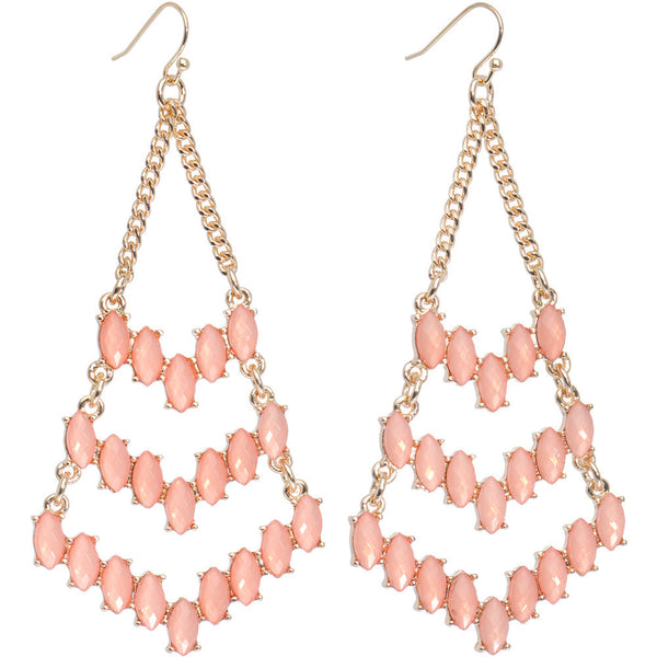 Gold Tone Pink Faux Stone Inverted Kite Chandelier Earrings