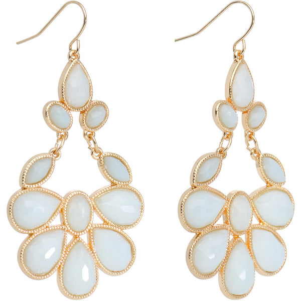 Gold Tone Seafoam Green Faux Stone Petals Flower Chandelier Earrings