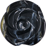 "3/4"" Blue Tiger Eye Natural Stone Rose Double Flare Saddle Plug"