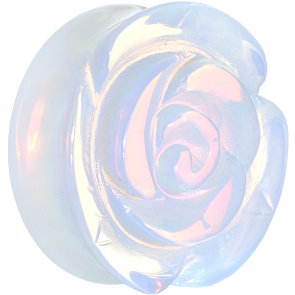 28mm Opalite Natural Stone Rose Flower Double Flare Saddle Plug
