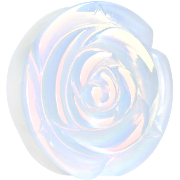 30mm Opalite Natural Stone Rose Flower Double Flare Saddle Plug