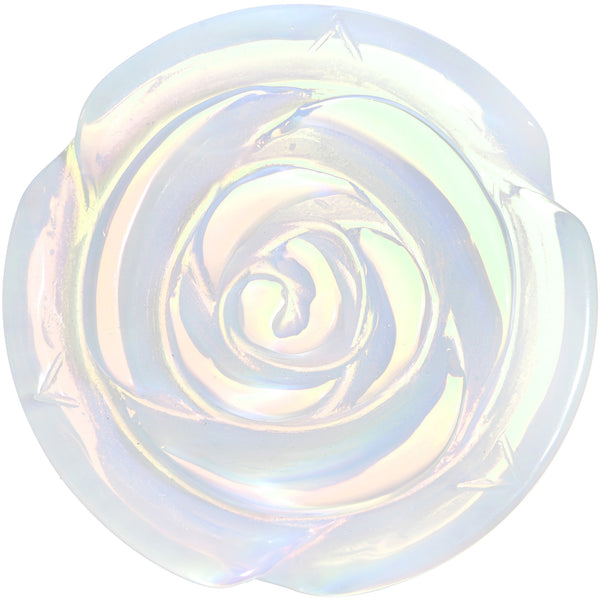 32mm Opalite Natural Stone Rose Flower Double Flare Saddle Plug