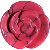 "7/8"" Dyed Pink Howlite Natural Stone Rose Double Flare Saddle Plug"