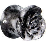 00 Gauge Zebra Jasper Natural Stone Rose Double Flare Saddle Plug