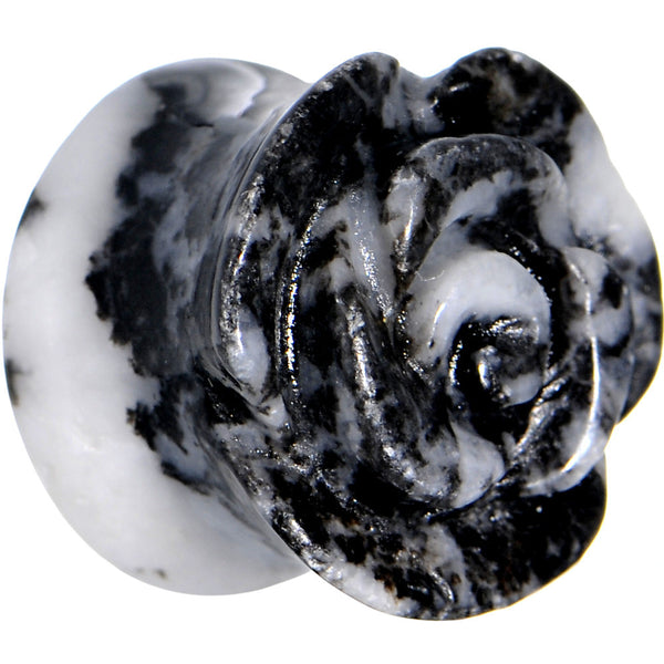 13mm Zebra Jasper Natural Stone Rose Double Flare Saddle Plug