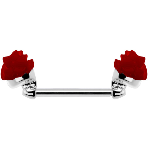14 Gauge 5/8 Fancy Red Rose Flower Nipple Barbell Set