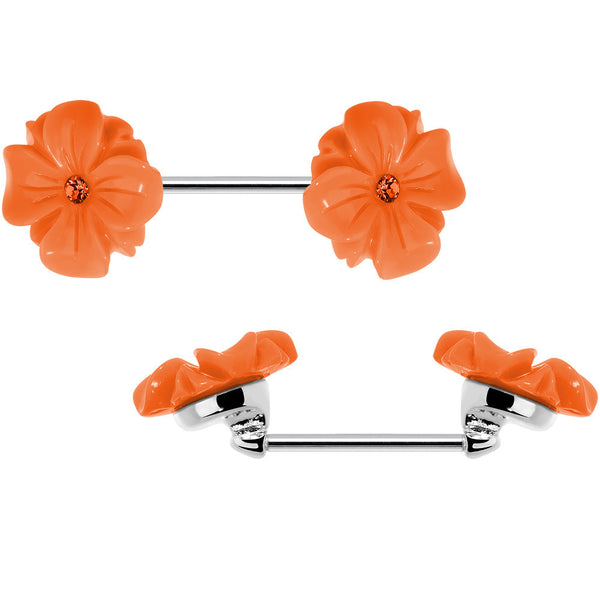 14 Gauge Orange CZ Blooming Orange Aster Flower Nipple Barbell Set