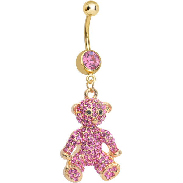 Pink Gem Paved Gold Plated Tiny Teddy Bear Dangle Belly Ring