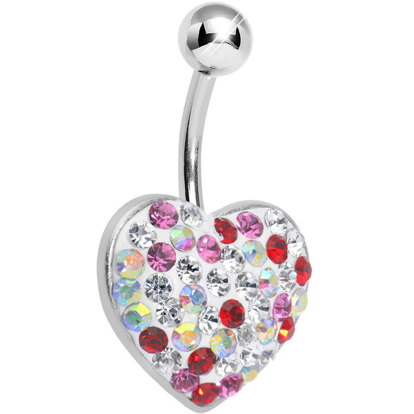 Multi Gem Radiant Paved Heart Belly Ring