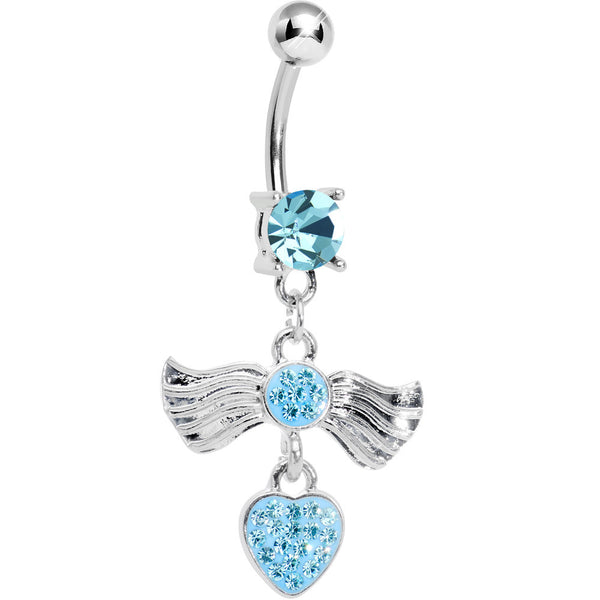 Aqua Gem Fancy Angel Wings Paved Heart Dangle Belly Ring