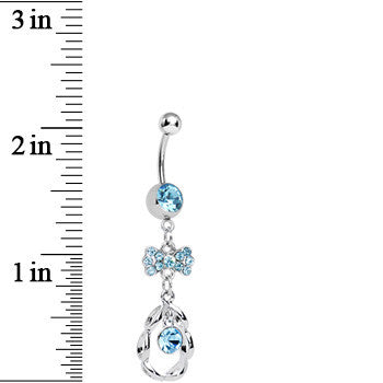 Aqua CZ Drop in a Drop and Sparkling Bow Dangle Belly Ring