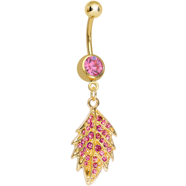 Pink Gem Gold Plated Delicate Drifting Leaf Dangle Belly Ring