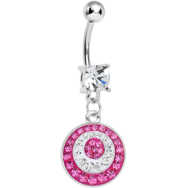 Crystalline Pink Gem Paved Glittering Circles Dangle Belly Ring