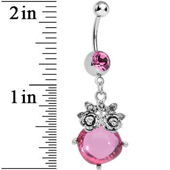 Pink Gem Luminous Orb Victorian Roses Dangle Belly Ring