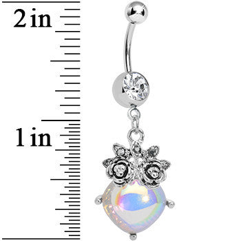 Clear Gem Luminous Orb Victorian Roses Dangle Belly Ring