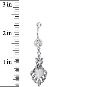 Clear Gem Royal White Heart Dangle Belly Ring