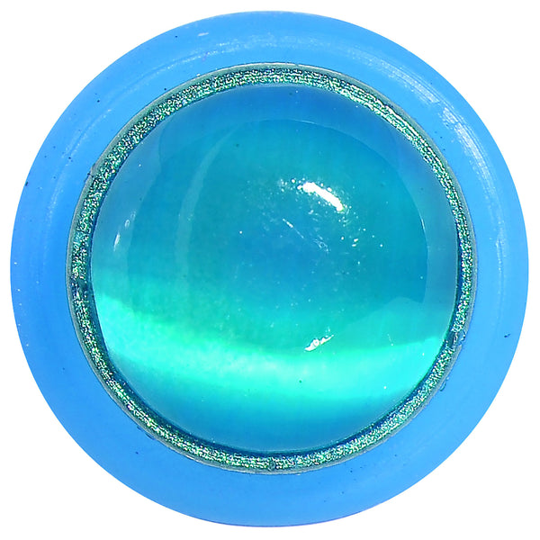 00 Gauge Aqua Opaque Gem Blue UV Acrylic Metallic Glitter Taper