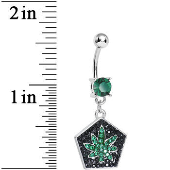 Green Gem Paved Pentagon Pot Leaf Dangle Belly Ring