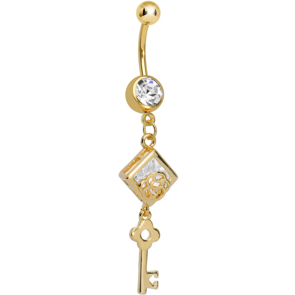 Clear Gem Gold Plated Key to My Diary Dangle Belly Ring