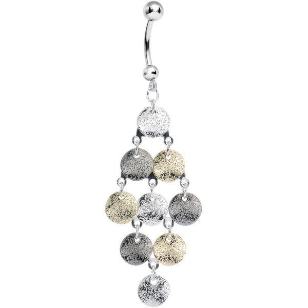 Gleaming Metallic Cascade of Discs Chandelier Belly Ring