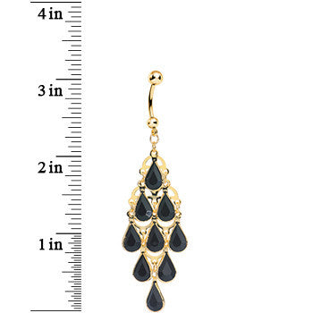 Gold Plated Faux Opaque Black Stone Teardrops Chandelier Belly Ring