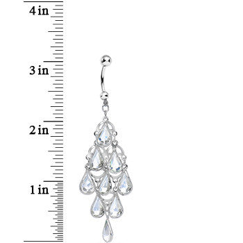 Faux Clear Stone Teardrops Chandelier Belly Ring