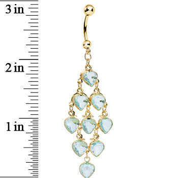 Gold Plated Faux Aqua Stone Hearts Chandelier Belly Ring