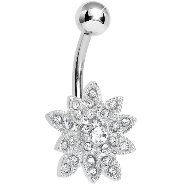 Clear Gem 3D Dazzle Flower Belly Ring