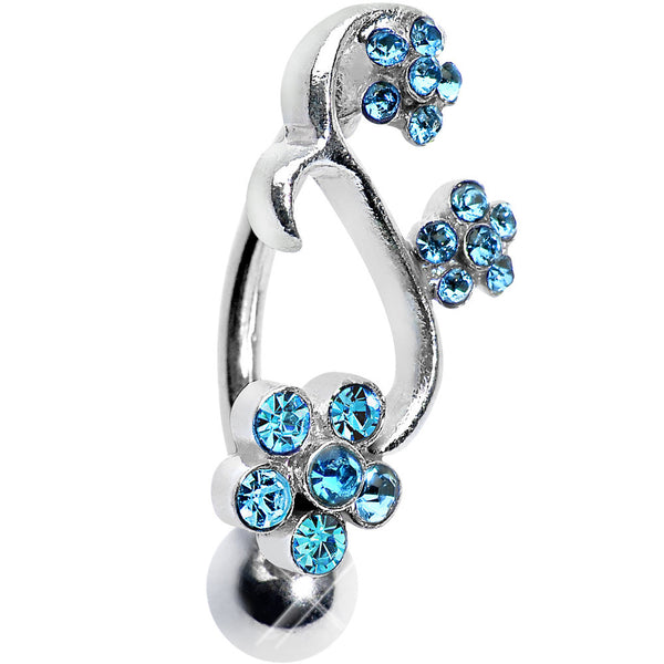 Aqua Gem Climbing Vine of Flowers Top Mount Belly Ring