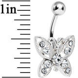 Crystalline Gem Glamorous Butterfly Belly Ring
